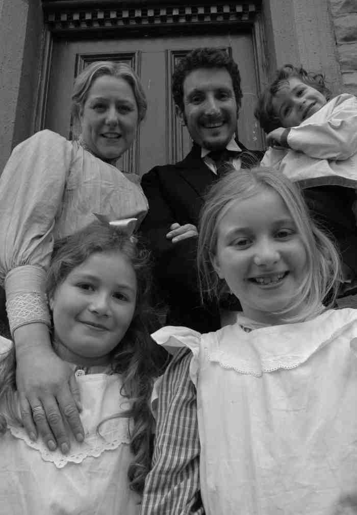 Me as a Middle Class Edwardian council clerk and my very well mannered wife and family!