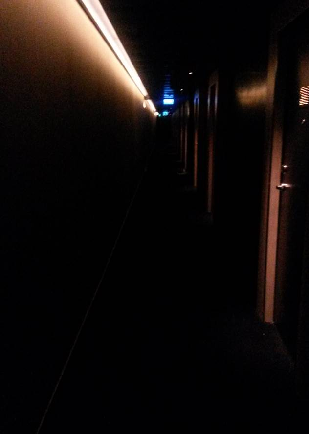 The seductively dark (and dingy) corridors at the W Hotel
