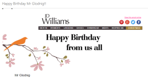 'Happy Birthday Mr Glodnig'!! How NOT to create a good impression with customers!