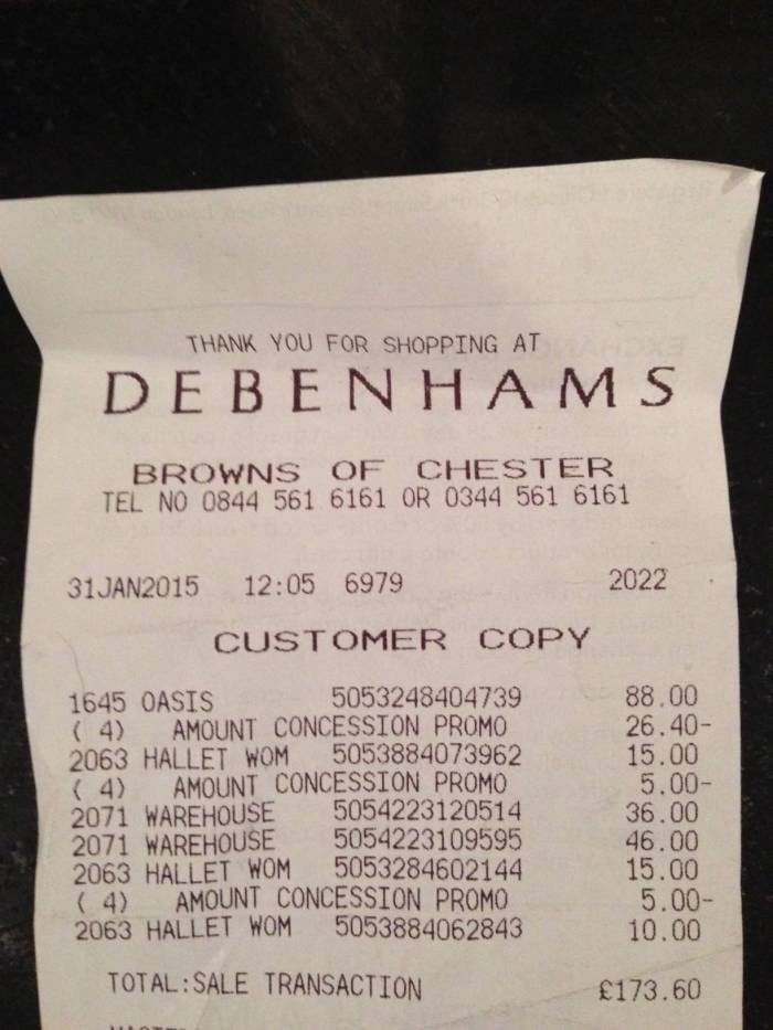 Debenhams Receipt
